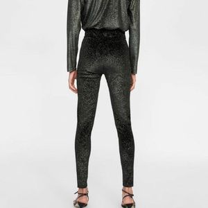Zara black velvet leggings with gold glitter